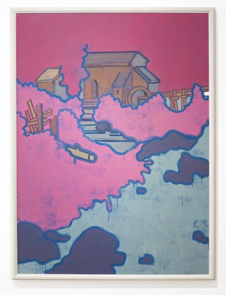 Hubert Schmalix Mühle Landschaft Arbeit Werk Öl auf Leinwand Smolka Contemporary