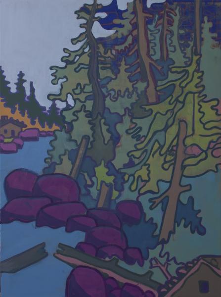 Hubert Schmalix Landschaft Arbeit Werk Öl auf Leinwand Fluss Smolka Contemporary