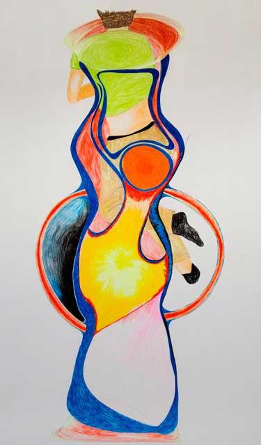 OFFENE FORM 28 - Uli Aigner 2015 - 180 x 295 cm - Buntstift auf Papier
